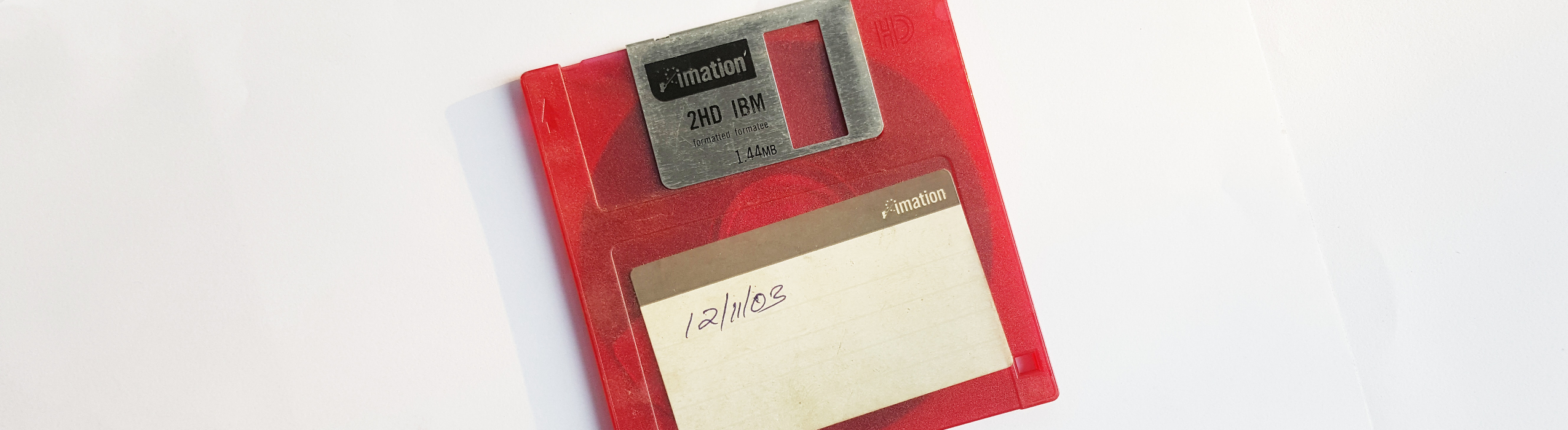 photo of a red floppy disc