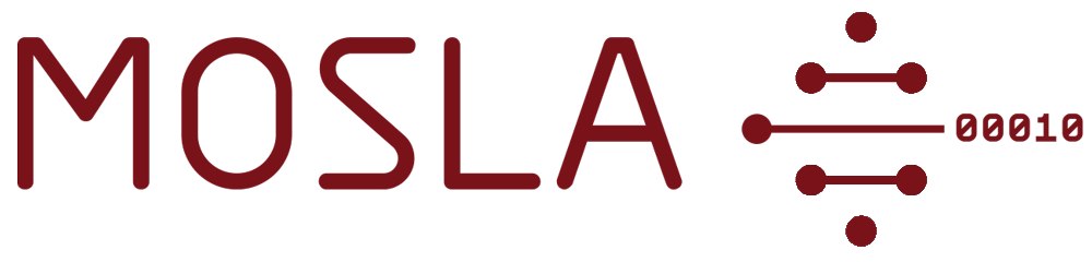 Small MOSLA logo: name in bordeaux with a grapic to the right, showing abstract DNS with binary code