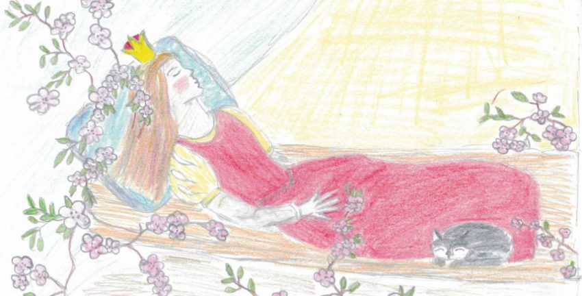 A child's drawing of Sleeping Beauty